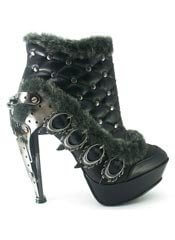 AGNES Black Faux Fur Stilettos