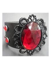 Red Black Filigree Leather Wristband