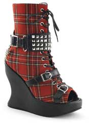 BRAVO-89 Red Plaid Wedges - Clearance
