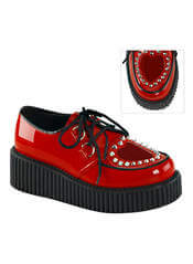 CREEPER-108 Red Patent Heart Creepers