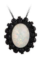 White opal skull cameo