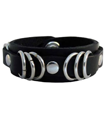 71 Black Leather Wristband