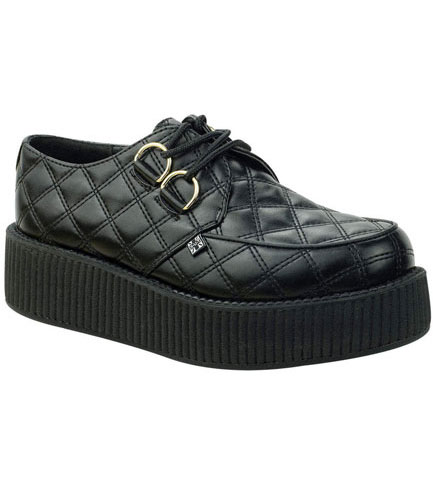 T.U.K. A8828 - Black Quilted Creepers