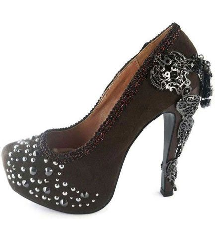 AMINA Brown Crystal Stilettos