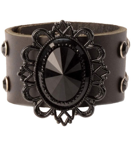 Black Filigree Leather Wristband
