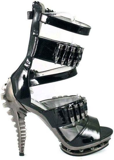 BULLET Black Strap Stilettos