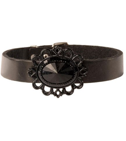 Black on Black Filigree Leather Choker