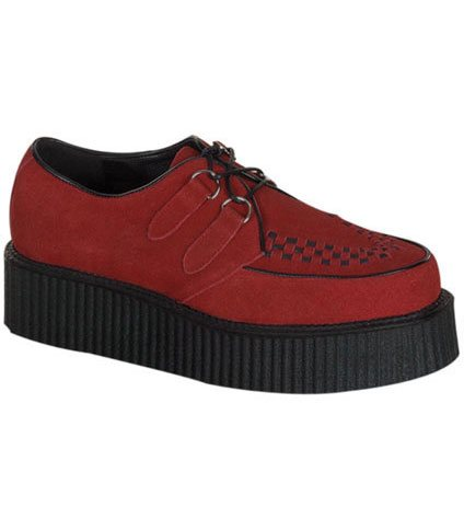 CREEPER-402S Red Suede Creepers - Clearance