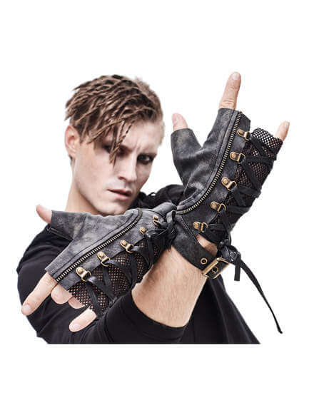 Devils Fashion Zipper Gloves