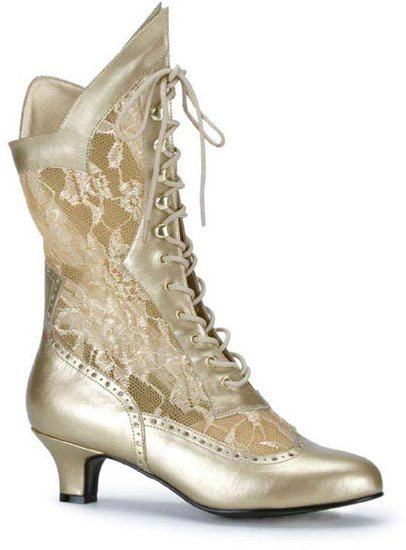 DAME-115 Gold Lace Boots