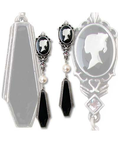 Coffin Drop Cameo Dangle Earrings - Clearance