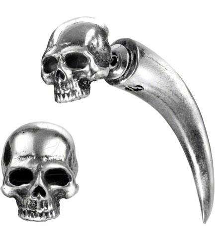 Tomb Skull Horn Earring