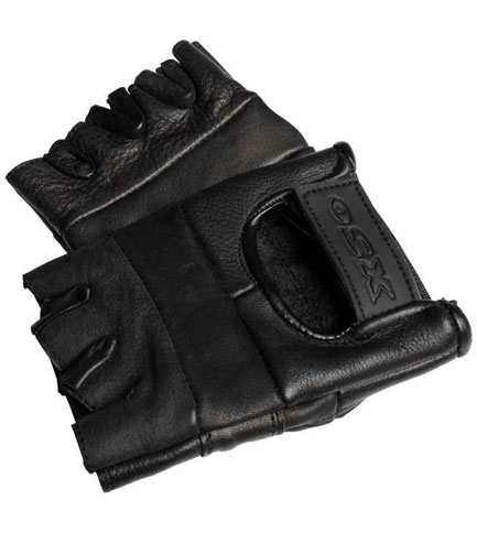 Plain Fingerless Leather Gloves