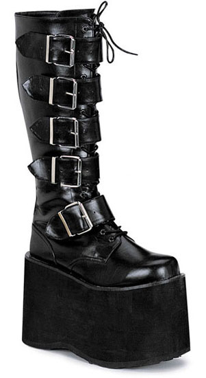 MEGA-618 Black PU Boots