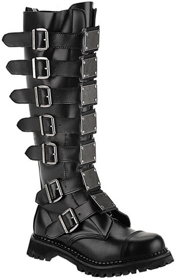REAPER-30 Black Leather Boots