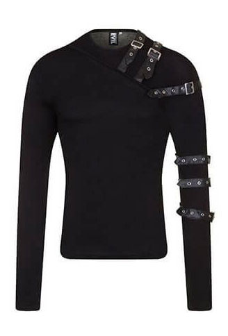 Vidar Mens Buckled Strap Long Sleeve Shirt