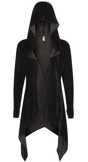 Artemis Black Velvet Gothic Drape Hoody