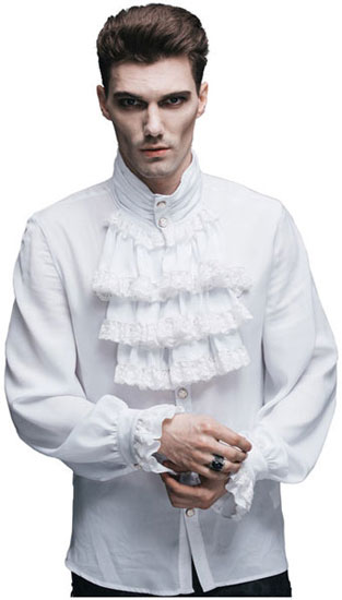 Ash Mens White Ruffle Shirt