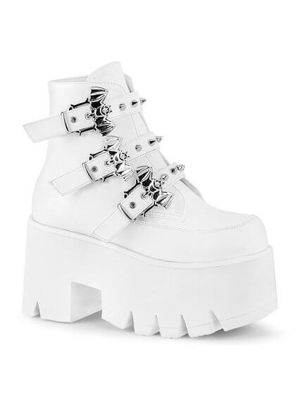 ASHES-55 White Gothic Platform Boots