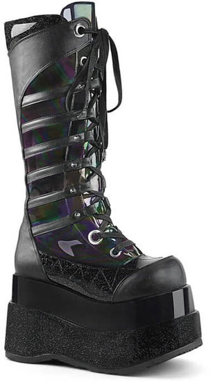 BEAR-205 Black Hologram Platform Boots