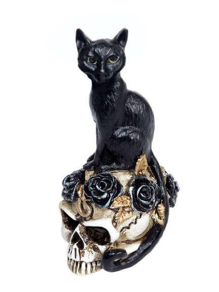 Black Cat Skull Miniature