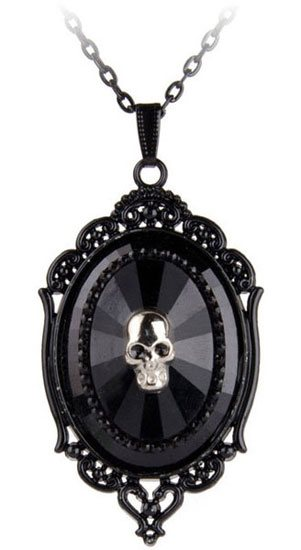 Black Filigree Pendant Cameo Necklace with Skull
