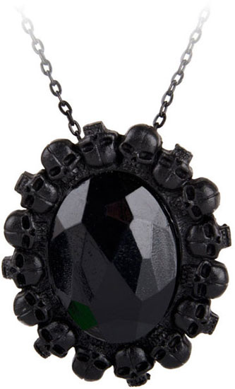 Black Stone Skull Cameo Necklace
