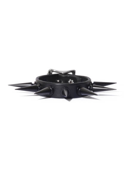 Black Spiked Leather Wristband