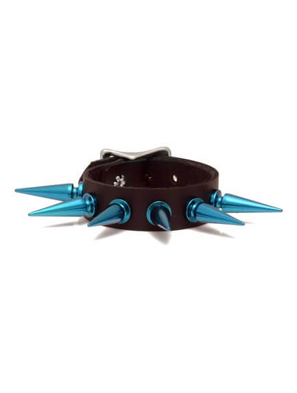 Blue Spiked Leather Wristband