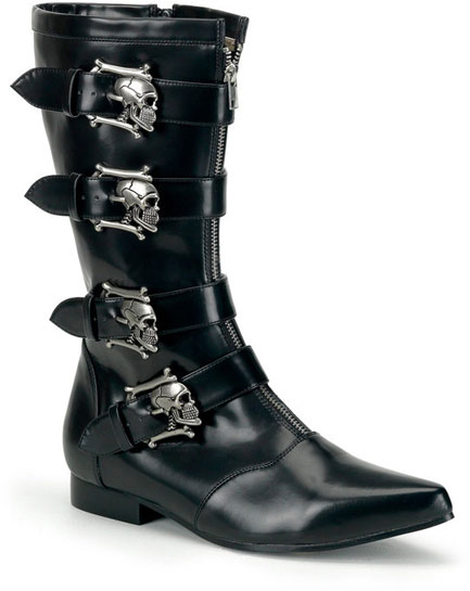 BROGUE-107 Black Skull Buckle Boots