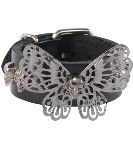 Butterfly Black Leather Wristband