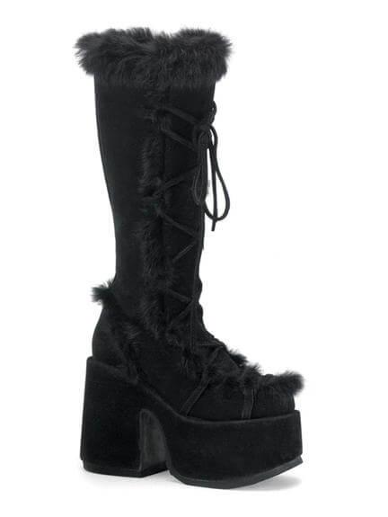 Camel-311 Black Suede Boots