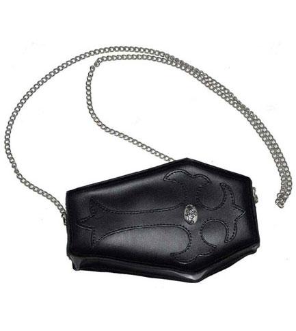 Coffin Black Leather Purse