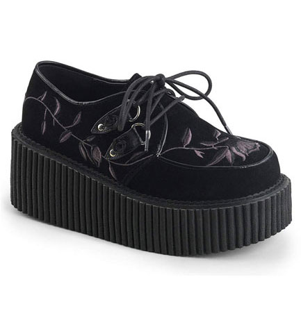 Velvet Embroidered Creeper Shoes