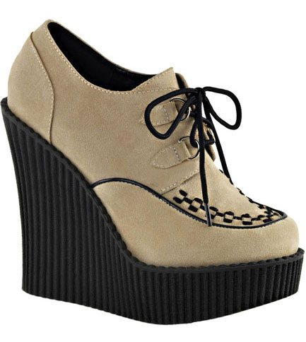 CREEPER-302 Beige Wedge Creepers
