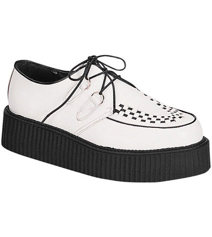 CREEPER-402 white leather creepers