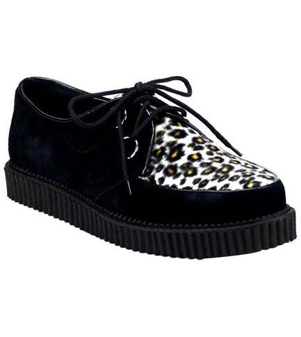 CREEPER-600 Fur Leopard Print Creepers