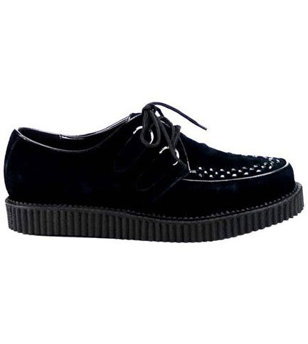 CREEPER-602S Demonia Black Suede Creepers