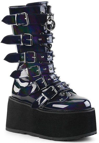 DAMNED-225 Black Hologram Platform Boots