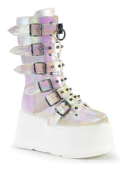DAMNED-225 White Iridescent Platform Boots