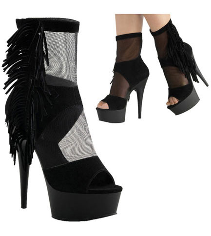 DELIGHT-1014 Black Fringe Boots