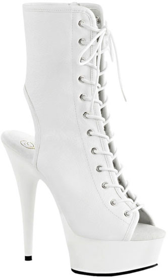 DELIGHT-1016 White PU Stilettos