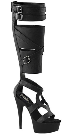 DELIGHT-600-43 Black PU Stilettos