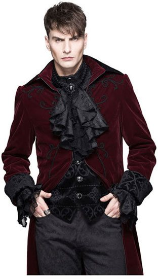 Devil Fashion Mens Red Velvet Tailcoat