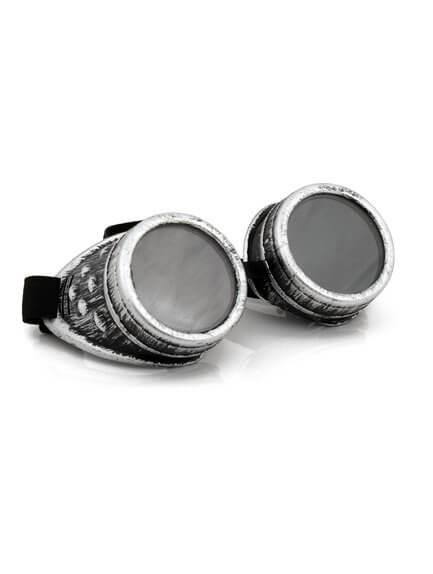 Distressed silver goggles