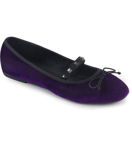 DRAC-07 Purple Velvet Mary Jane Ballet Flats
