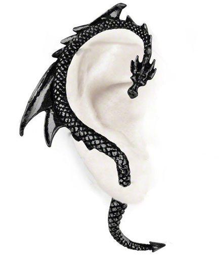 Dragons Lure Black Earring Cuffs