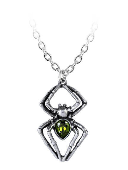 Emerald Spiderling Pendant Necklace