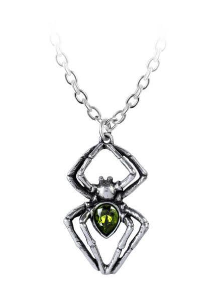 Emerald Spiderling Pendant Necklace