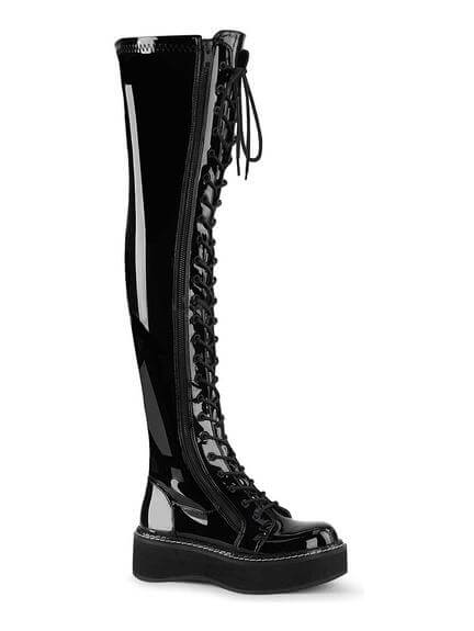 EMILY-375 Black Patent Boots